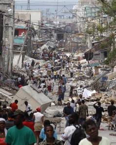 Earthquake damage in Port-au-Prince, Haiti. Photo courtesy BBC.