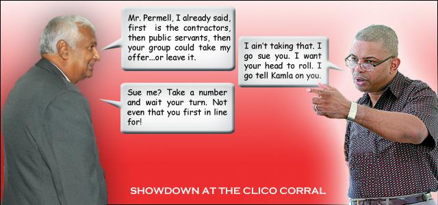 Winston Dookeran vs Peter Permell. Original photo courtesy Trinidad Guardian. Illustration by NiCam Graphics