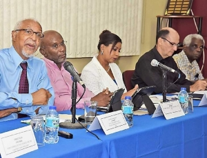 JCC press conference with Dr. James Armstrong at left. Photo: AYANNA KINSALE. © 2016, Trinidad Express