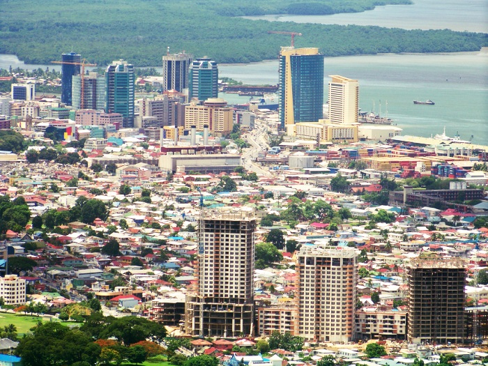 Port of Spain. Downtown in the background, One Woodbrook Place in the foreground